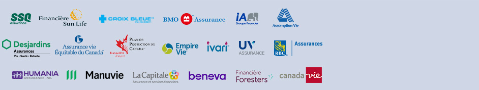 Voici les partenaires de SoumissionAssuranceHypotheque.ca: SSQ, Sun Life, Croix Bleue, BMO, Industrielle Alliance, Desjardins, Assurance Vie Équitable du Canada, RBC, Humania, Manuvie, La Capitale, IA Excellence, Plan de Protection du Canada, Ivari, Empire Vie, UV Mutuelle, Foresters, Assomption Vie